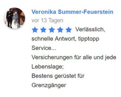 Grenzgänger - Versicherung & Service | Kundenbewertung von Veronika Summer-Feuerstein